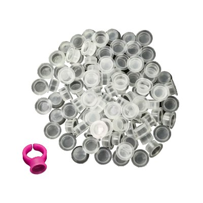 Batoque Descartável Transparente  100un + Anel Rosa