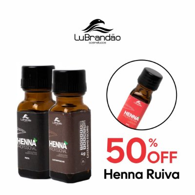 Henna Castanho Escuro + Henna Preto + 50% OFF Henna Ruiva