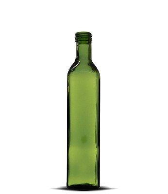 Garrafa Verde Azeite Quadrado Grande 500ml | 24 Unidades | Sem Tampa