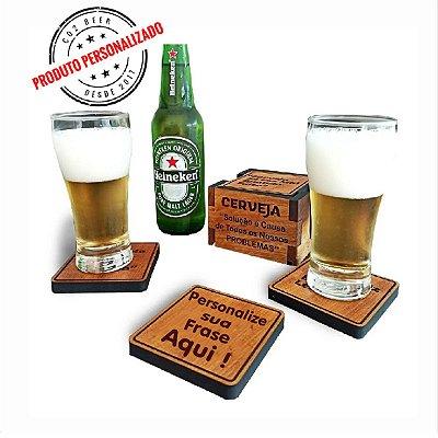Porta Copos Cerveja Personalizado - 6 unidades + Caixa de Madeira