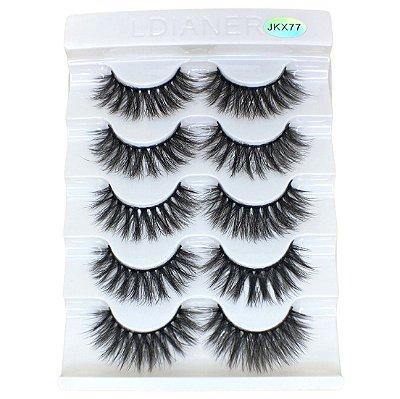 Caixa com 5 pares de cílios postiços 3D – n. JKX77 Adriane Makeup