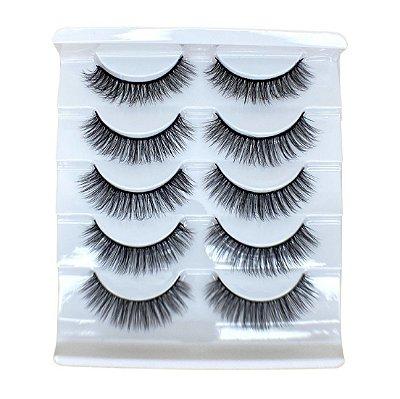 Caixa com 5 pares de cílios postiços 3D – n. 103 Adriane Makeup