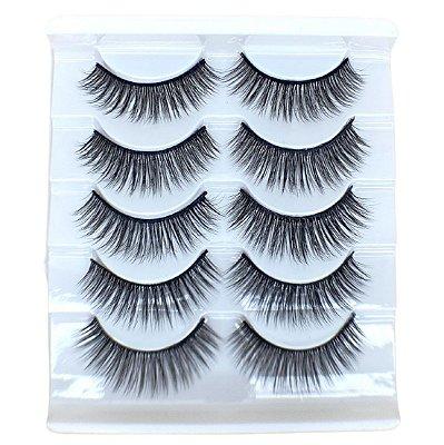 Caixa com 5 pares de cílios postiços 3D – n. 111 Adriane Makeup