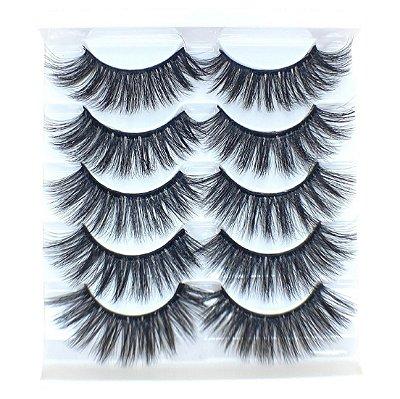 Caixa com 5 pares de cílios postiços 3D – n. 126 Adriane Makeup