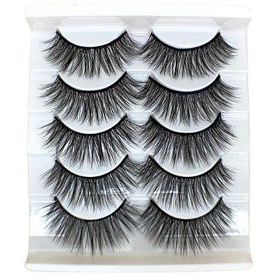 Caixa com 5 pares de cílios postiços 3D – n. 121 Adriane Makeup