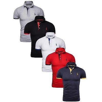 Kit com 5 Camisas Polo Use Giraffe Premium - Cinza, Preto, Branco, Vermelha, Azul - 100% Algodão