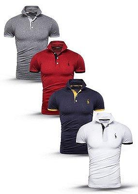 Kit com 4 Camisas Polo Use Giraffe - Cinza, Vermelha, Azul, Branca - 100% Algodão