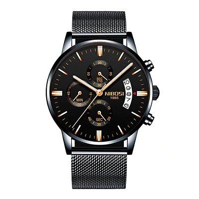 Relógio Blindado NIBOSI Inox Pulseira Milanese Funcional