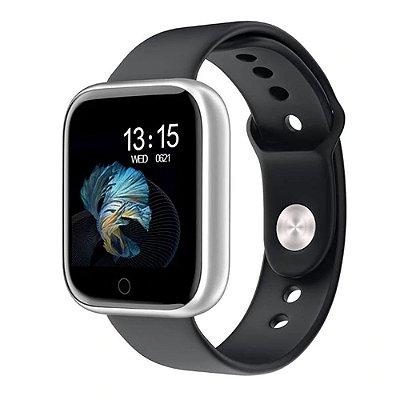 Relógio Eletrônico Smartwatch CF T80 Preto com Prata - IP68 - Android e iOS