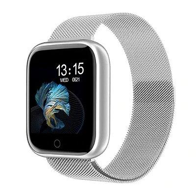 Relógio Eletrônico Smartwatch CF T80 Prata Milanese - IP68 - Android e iOS