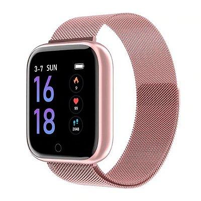 Relógio Eletrônico Smartwatch CF T80 - Rosa Milanese - IP68 - Android e iOS