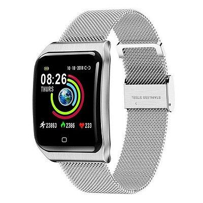 Relógio Smartwatch CF9 - IP68 - iPhone/Android - 100% Aço - Prata