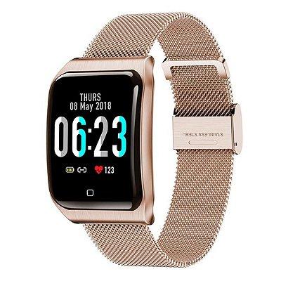 Relógio Smartwatch CF9 - IP68 - iPhone/Android - 100% Aço - Rosa