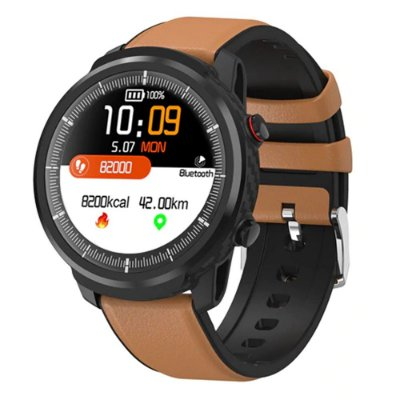 Relógio Smartwatch CF L3 - Couro Marrom - iPhone ou Android