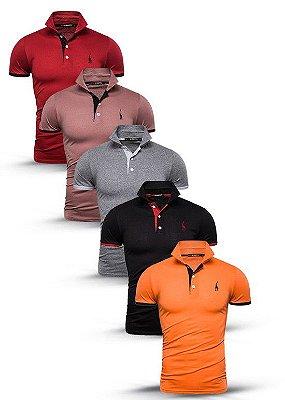 Kit com 5 Camisas Polo Use Giraffe Premium - Vermelho, Roxa, Cinza, Preto, Laranja - 100 % Algodão