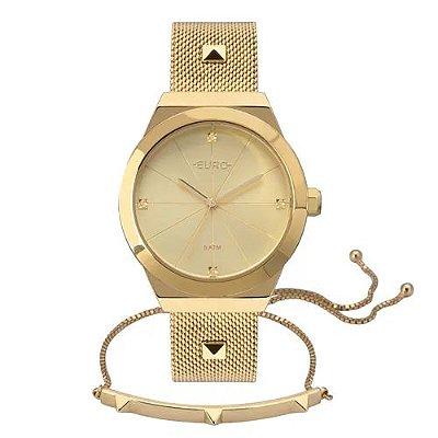 Kit Relógio Euro Unique Feminino Dourado + Pulseira Spike - EU2035YRJ/K4D