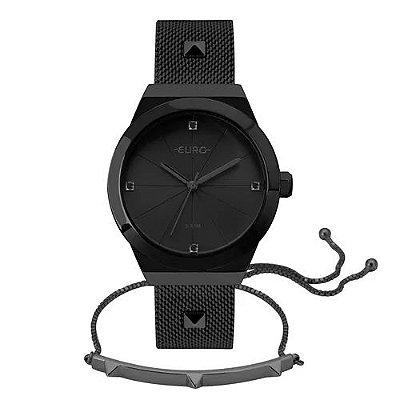 Kit Relógio Euro Unique Feminino Preto + Pulseira Spike - EU2035YRG/K4P