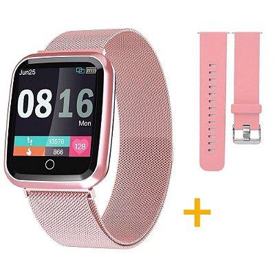 Relógio Eletrônico Smartwatch CF N99 Rosê Gold + 1 Pulseira de Brinde Rosa