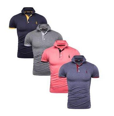Kit com 4 Camisas Polo Use Giraffe - Azul, Cinza, Rosa, Azul Denim - 100% Algodão