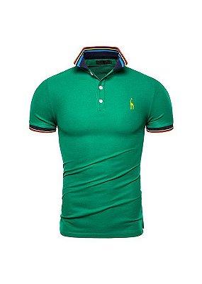 Camisa Polo Giraffe UG - Verde com Detalhes - 100%  Algodão