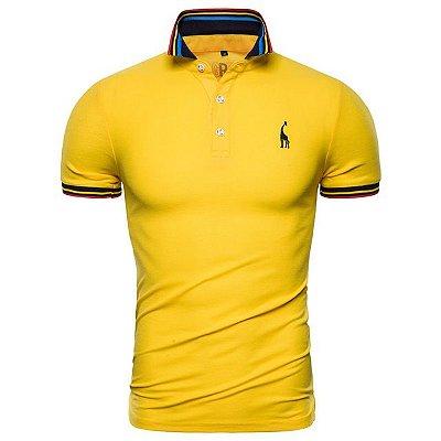 Camisa Polo Giraffe UG - Amarelo com Detalhes - 100%  Algodão