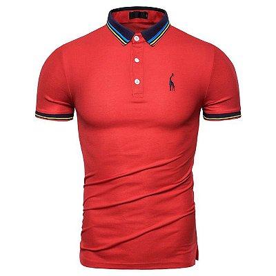 Camisa Polo Giraffe UG - Vermelho com Detalhes - 100%  Algodão