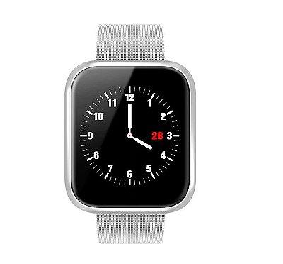 Relógio Eletrônico Smartwatch CF P70 - Prata Milanese