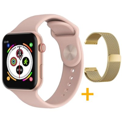 Relógio Smartwatch F10 - Rosa - iOS / Android - 44mm + Pulseira Extra Milanês Gold
