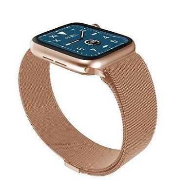 Relógio Eletrônico Smartwatch W68 - Rosê Gold Milanês - 44mm