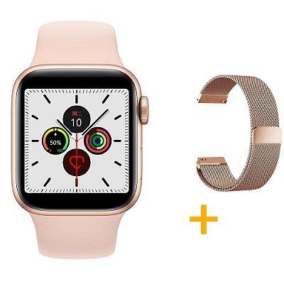 Relógio Smartwatch IWO 12 Pro Série 5 - Rosa - 44mm + 1 Pulseira Extra - Rosê Gold Milanese