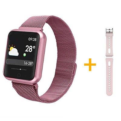 Relógio Eletrônico Smartwatch P68 Rosa + Pulseira de Extra