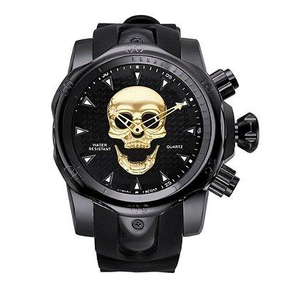Relógio Masculino Big Dial Skull - Preto com Dourado - Aço Inox