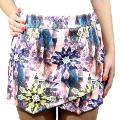 Shorts Saia Assimétrico Floral Rosa- She's Collection