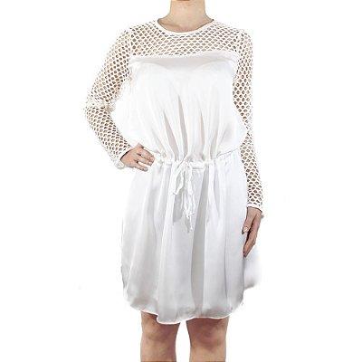 Vestido Branco Com Detalhe Renda Guipir - NEFESHION