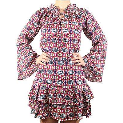 Vestido Com Babado Manga Sino - NEFESHION