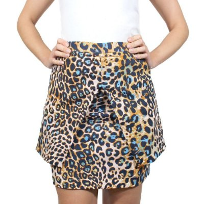 Saia Assimétrica Animal Print Azul - NEFESHION
