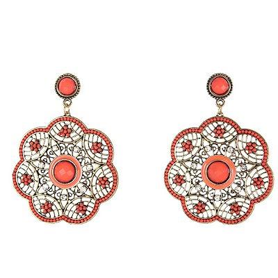 Brinco Em Formato De Flor Com Strass - lookiando jewels