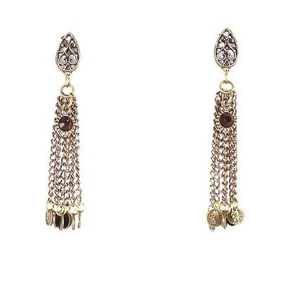 Brinco Longo Com Moedinhas - lookiando jewels