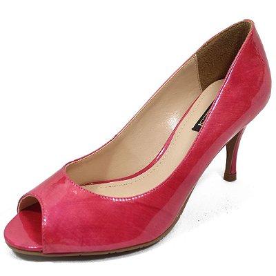 Sapato Peep Toe Couro Verniz Pink - Divalesi