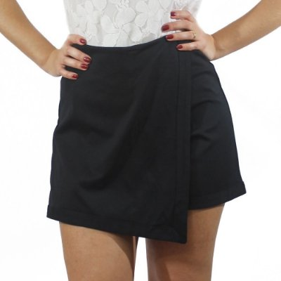 Shorts Saia Assimétrico Preto Hot Pants - TALGUI