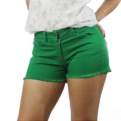 Shorts Sarja Com Barra Desfiada Cor Verde - Chocoleite