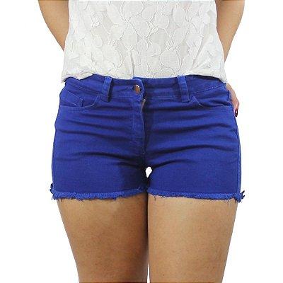 Shorts Sarja Com Barra Desfiada Cor Azul Royal - Chocoleite