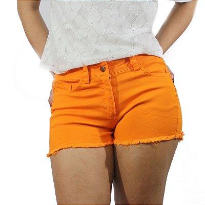 Shorts Sarja Com Barra Desfiada Cor Laranja - Chocoleite