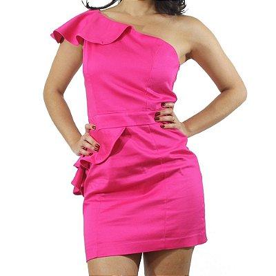 Vestido Peplum de Um Ombro Só na Cor Pink - TALGUI