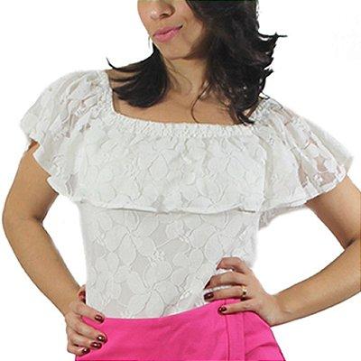 Blusa Ciganinha Renda - Pink Shine