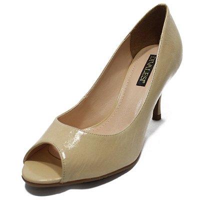 Sapato Peep Toe Couro Verniz Nude - Divalesi