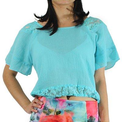 Blusa Cropped com Renda Cor Turquesa - Vitral