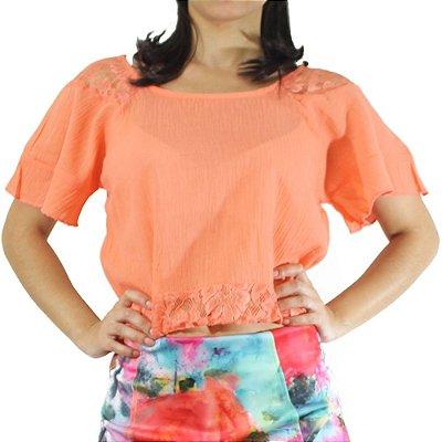 Blusa Cropped com Renda Cor Laranja - Vitral