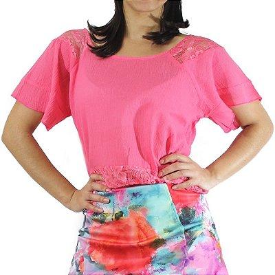 Blusa Cropped com Renda Cor Rosa - Vitral