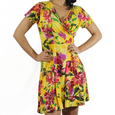 Vestido com Decote Transpassado Estampa Tropical - Vitral